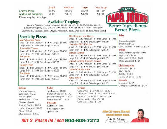Check out the full menu for Papa John's Pizza. When available, we provide pictures, dish ratings, and descriptions of each menu item and its price. Use this menu information as a guideline, but please be aware that over time, prices and menu items may change without being reported to our site/5(59).